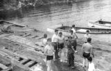 East End Wharf 1957. Young men and named boats