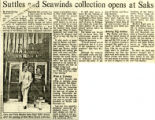 """Suttles and Seawinds collection opens at Saks"" - The Ottawa Citizen - Friday, August 7,..."